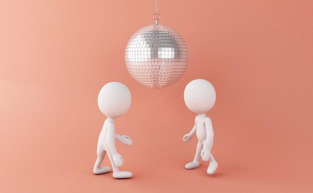 Pessoas brancas 3d dançando com bola de discoteca