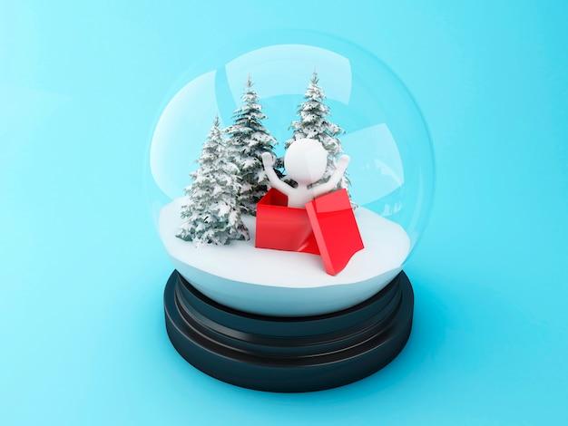 Pessoas brancas 3d dentro de um presente de natal na cúpula de neve.