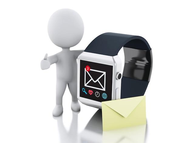 Pessoas brancas 3d e inteligente relógio. conceito de tecnologia