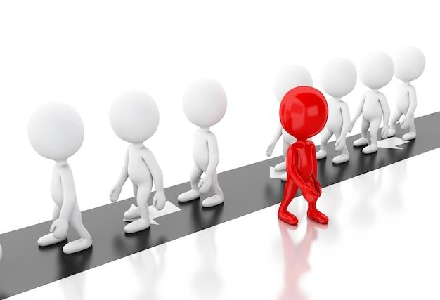 Pessoas brancas 3d escolhendo a maneira diferente e bem sucedida.