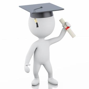Pessoas brancas 3d graduadas com diploma e chapéu de formatura