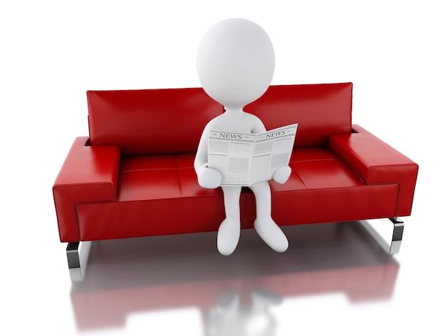 Pessoas brancas 3d lendo um jornal, sentado em uma poltrona.