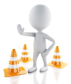 Pessoas brancas 3d param no sinal com cones de trânsito em fundo branco