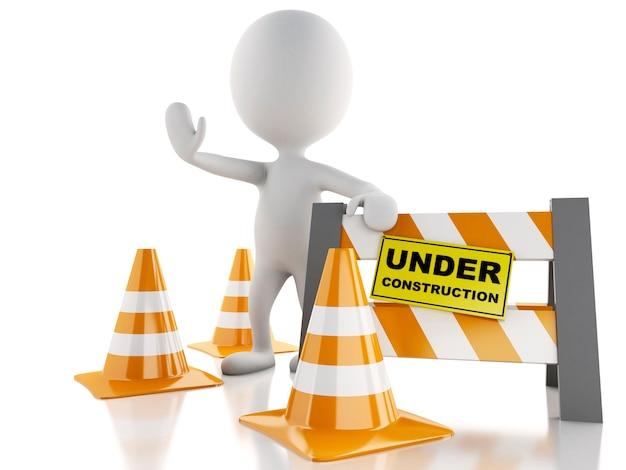 Pessoas brancas 3d param no sinal com cones de trânsito. sob o conceito de construção.