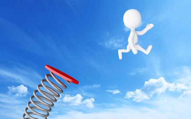 Pessoas brancas 3d pulando no trampolim no céu azul