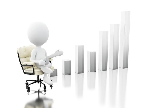 Pessoas brancas 3d sentado na cadeira com gráfico de negócios