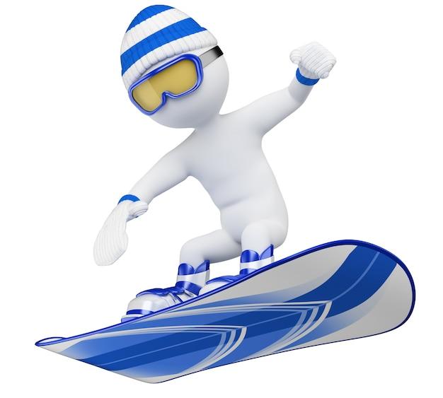 Pessoas brancas 3d. snowboard