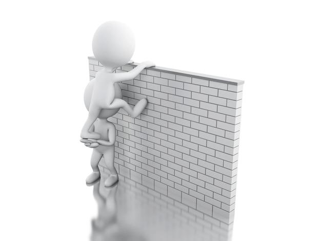 Pessoas brancas 3d subindo uma parede de tijolos