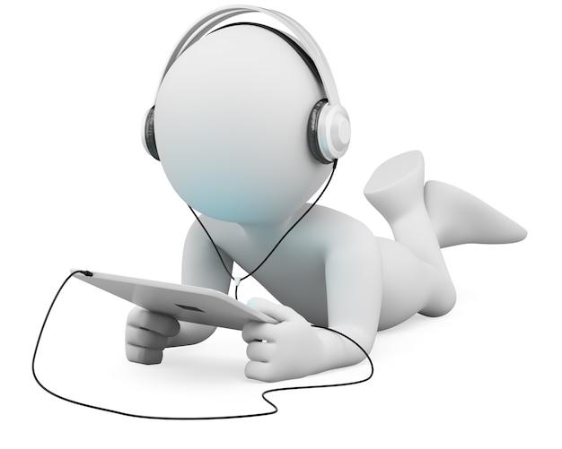 Pessoas brancas 3d. tablet e fones de ouvido
