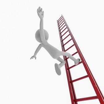 Pessoas brancas caindo de uma escada. renderização 3d