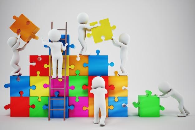 Pessoas brancas constroem uma empresa. conceito de parceria e trabalho em equipe. renderização em 3d