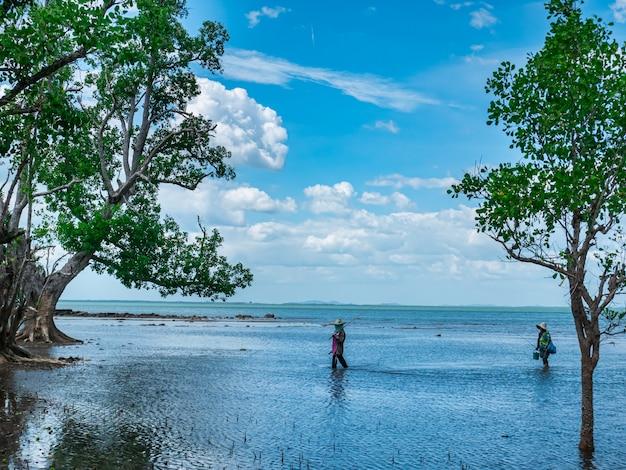 Pessoas caminhando para pescar