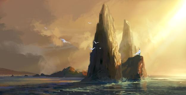 Pessoas com roupas brancas ficam em pé na rocha à beira-mar ao entardecer, olhando para a ilustração à distância.