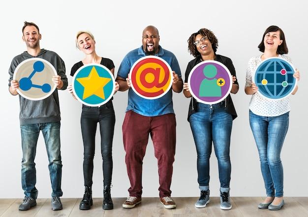 Pessoas, com, social, mídia, conceito