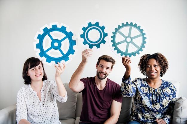 Pessoas, com, trabalho equipe, conceito