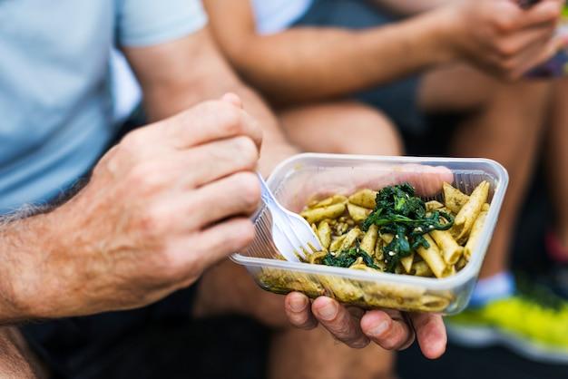 Pessoas, comer, alimento saudável