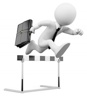Pessoas de negócios branco 3d. corrida de obstáculos