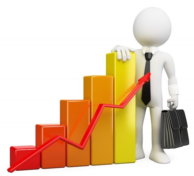 Pessoas de negócios branco 3d. gráfico de barras