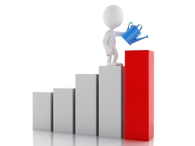 Pessoas de negócios branco 3d molhar um gráfico de estatística