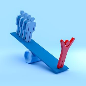 Pessoas em equilíbrio. liderança e equipe. renderização 3d