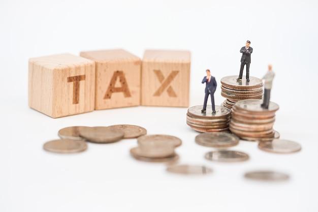 Pessoas em miniatura, oficial de impostos com o bloco de palavras