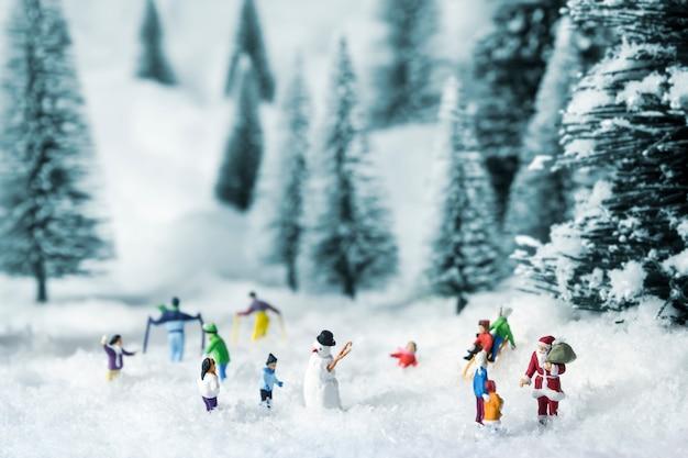Pessoas em miniatura sair em bosques de pinheiros durante o inverno