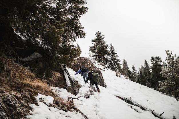 Pessoas, escalando, nevado, colina