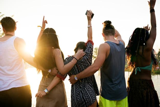 Pessoas, ficar, junto, unidade, amizade