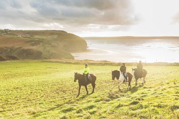 Pessoas, montando, cavalos, em, a, campo