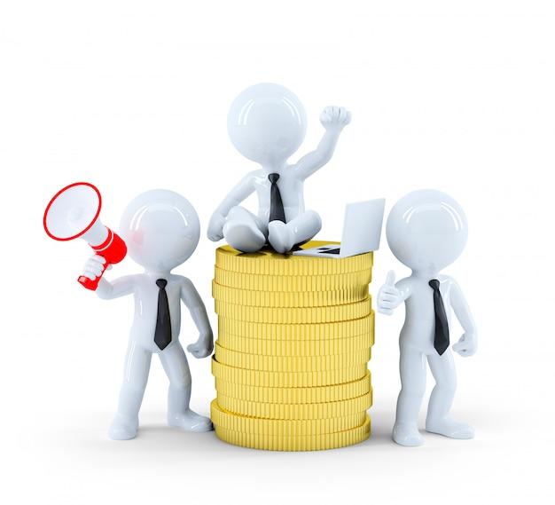 Pessoas na pilha de moedas de ouro. conceito de fazer dinheiro