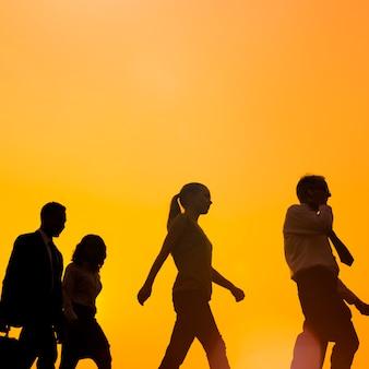 Pessoas negócio, andar, viagem, incorporado, comutador, conceito