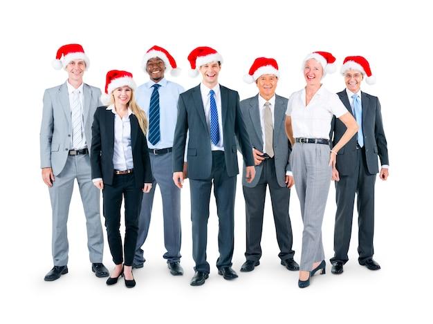 Pessoas negócio, em, chapéus natal