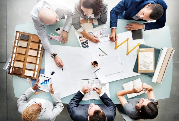Pessoas negócio, planejando, blueprint, arquitetura, conceito