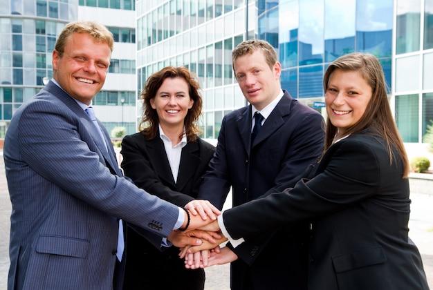 Pessoas negócio, unindo, mãos