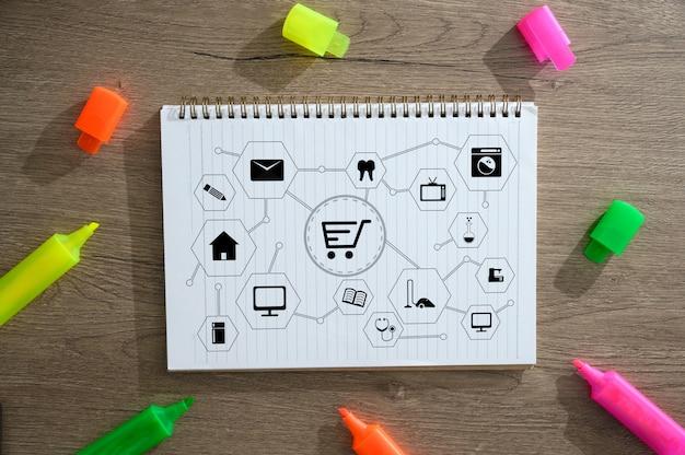 Pessoas negócio, use, tecnologia comércio eletrônico internet, global, marketing, plano de compra, e, banco