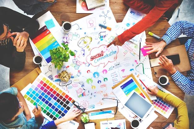 Pessoas, reunião, comunicação social, conexão, conceito
