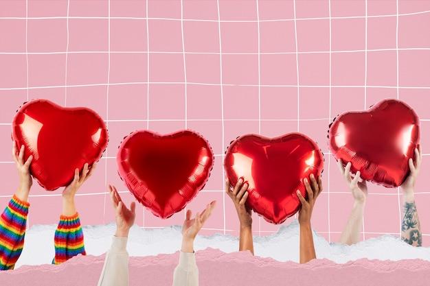 Pessoas segurando corações para o dia dos namorados & rsquo; comemoração mídia remixada
