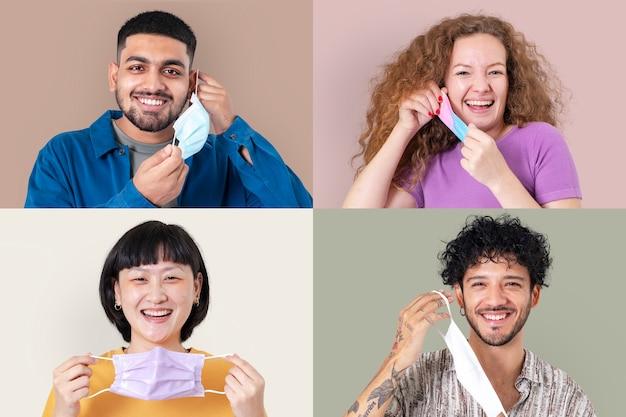 Pessoas segurando máscara facial durante o novo normal