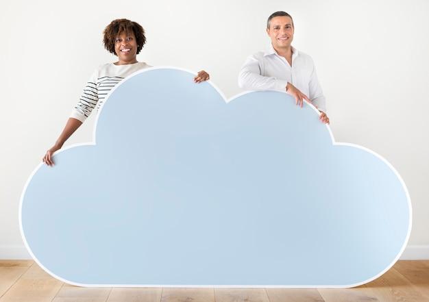 Pessoas, segurando, nuvem, ícone