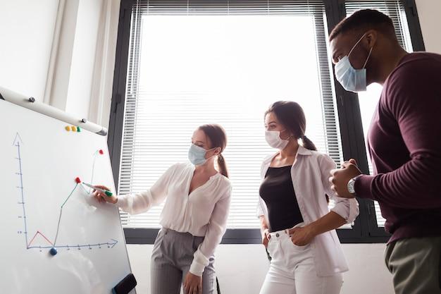 Pessoas trabalhando no escritório durante a pandemia participando de uma apresentação