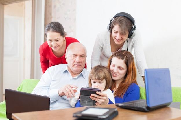 Pessoas usam alguns vários dispositivos