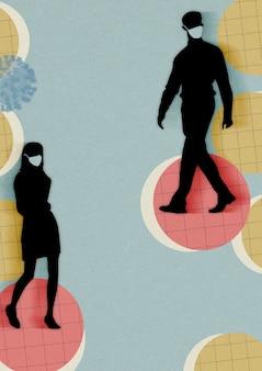 Pessoas usando máscaras e tendo distanciamento social em ilustração de plano de fundo público
