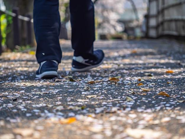 Pétala de flor de cerejeira caída no parque com pés embaçados e pés