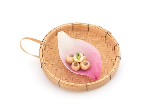 Pétala de lótus rosa e sementes isoladas.