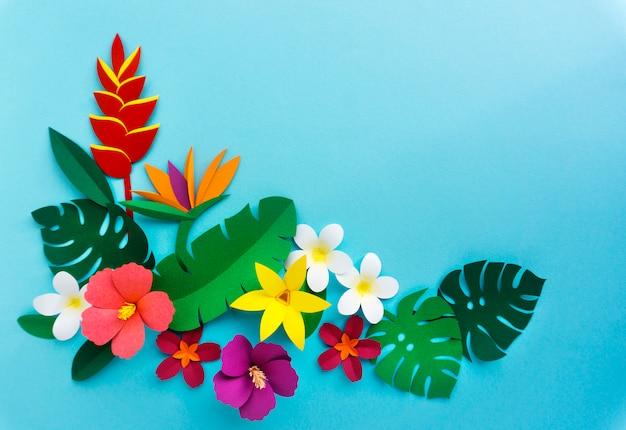 Pétalas de natureza tropical papercraft artesanais