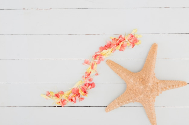 Pétalas de vista superior e estrela do mar sobre fundo de madeira