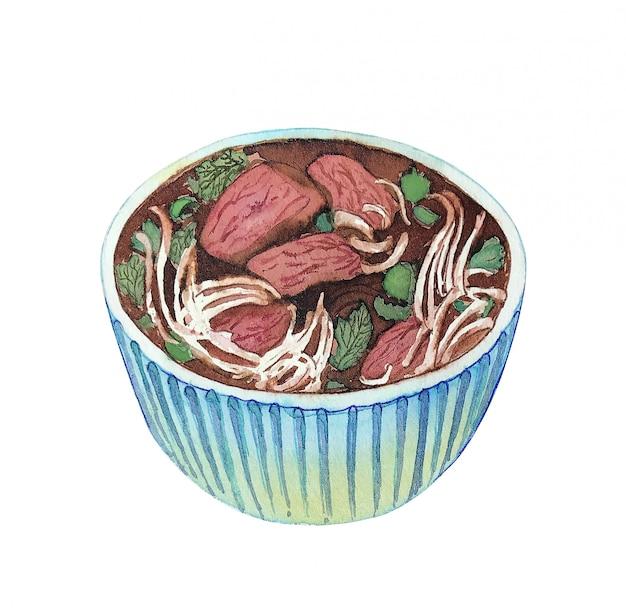 Pho vietnamiano da sopa da aquarela isolado no fundo branco.