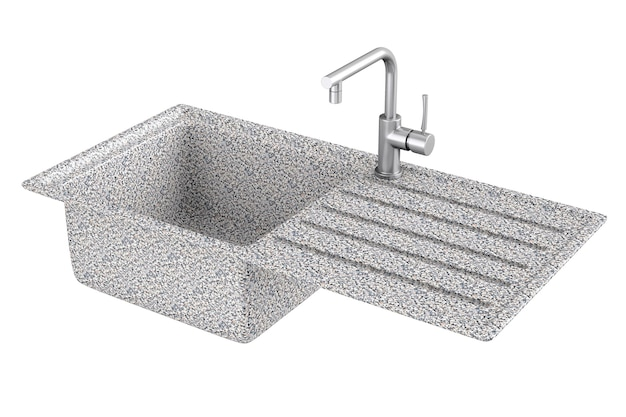 Pia de cozinha de granito moderna com torneira de água de aço inoxidável, torneira em um fundo branco. renderização 3d.