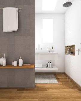 Pia de madeira mínima de renderização 3d no banheiro