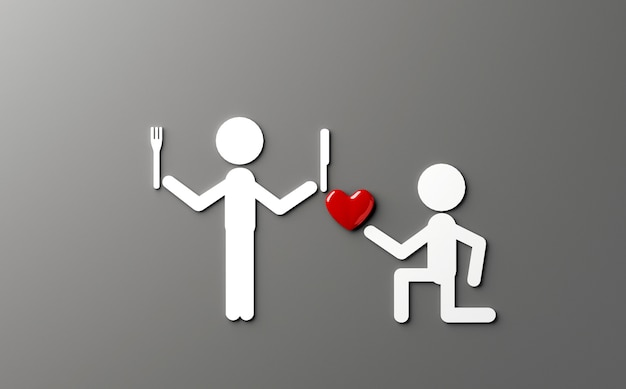 Piada n amor tema ilustração 3d